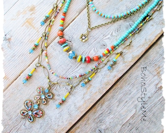 Bohemian Jewelry Necklace, BohoStyleMe, Multi-Strand Glass Necklace, Colorful Butterfly Necklace, Modern Hippie Chic Jewelry