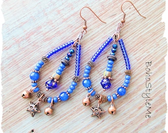 Bohemian Blue Celestial Star Beaded Dangle Earrings, BohoStyleMe, Modern Hippie Gypsy Earrings, Boho Fashion Jewelry