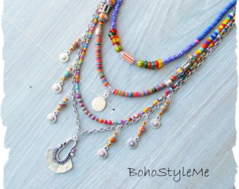 Bohemian Necklace, BohostyleMe, Modern Hippie Jewelry, Handmade Beaded Necklace, Colorful Boho Hippie Multi-Strand Necklace