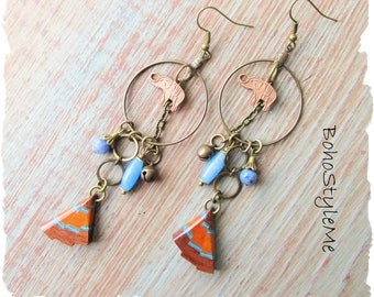 Bohemian Tribal Elephant Assemblage Earrings, BohoStyleMe, Long Handmade Global Chic Dangle Earrings