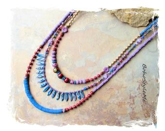 Boho Style Colorful Fun Beaded Artisan Necklace, Bohemian Necklace, BohoStyleMe, Modern Hippie Jewelry, Assemblage Jewelry