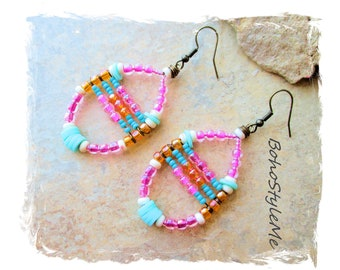 Boho Colorful Beaded Earrings, Bohemian Jewelry, BohoStyleMe, Handmade Boho Style Beach Earrings, Modern Hippie Chic
