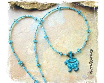 Gemstone Necklace, Aqua Apatite Necklace, Greek Mykonos Primitive Pendant, Boho Beaded Necklace, BohoStyleMe, Gift for Woman