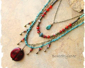 Boho Turquoise and Rust Beaded Stone Necklace, Bohemian Jewelry, BohoStyleMe, Rustic Modern Hippie Chic Necklace