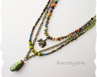 Rustic Gemstone Bohemian Necklace, Layered Elephant Necklace, BohoStyleMe, Handmade Mixed Color Beaded Necklace , Bohemian Jewelry