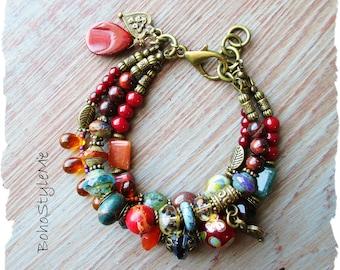 Rustic Boho Mixed Color Beaded Stone and Glass Bracelet, BohoStyleMe, Rich Jewel Tones, Modern Hippie Bohemian Jewelry