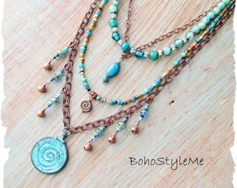 Boho Gypsy Style Handmade Beaded Bohemian Necklace, BohoStyleMe, Patina Spiral Pendant, Blue Green Ocean Colors