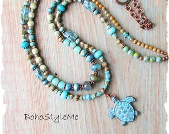 Bohemian Nature Inspired Sea Turtle Necklace Jewelry, BohoStyleMe, Blue Green Stone and Glass Ocean Marine Life Necklace