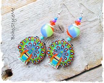Boho Colorful Dangle Earrings, BohoStyleMe, Vintage Peacock Whistles, Boho Fun Earrings, Bold Bohemian Jewelry, Modern Hippie