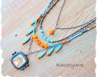 Colorful Handmade Bohemian Necklace, Whimsical Orange Tabby Cat Necklace, BohoStyleMe, Cat Lover, Boho Fun Beaded Necklace