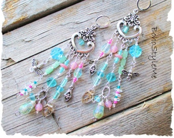 Boho Style Pastel Spring Assemblage Earrings, Bohemian Jewelry, BohoStyleMe, Modern Hippie Earrings, Boho Fashion