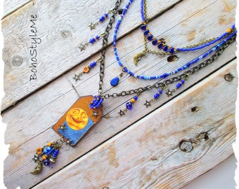 Bohemian Necklace, BohoStyleMe, Whimsical Man in The Moon Celestial Beaded Necklace, Handmade Modern Hippie Jewelry