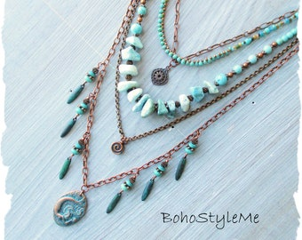 Rustic Bohemian Stone Necklace, BohoStyleMe, Under the Sea Mermaid Necklace, Handmade Beaded Necklace
