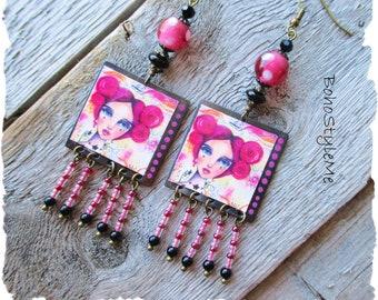 Boho Fun Colorful Earrings, BohoStyleMe, Girl With Pink Hair, Handmade Artisan Earrings, Unique Beaded Earrings