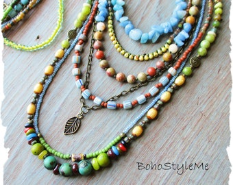 Bohemian Beaded Stone Nature Inspired Necklace, BohoStyleMe, Earth Tone Layered Necklace, Modern Hippie Jewelry