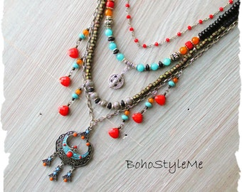 Bohemian Necklace, BohoStyleMe, Modern Hippie Jewelry, Handmade Beaded Necklace, Colorful Urban Gypsy Necklace