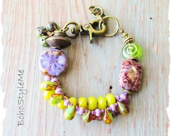 Boho Colorful Beaded Stone Bracelet Jewelry, BohoStyleMe, Modern Hippie Bracelet, Bold Green and Purple Stone Bracelet
