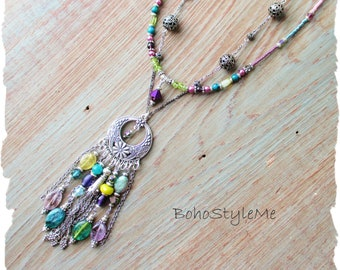 Boho Style Gemstone Necklace, BohoStyleme, Bohemian Jewelry, Global Chic Modern Hippie Necklace, Vibrant Peacock Colors