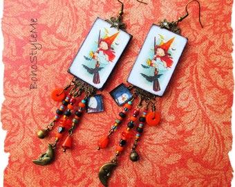 Halloween Earrings, Colorful Boho Style Assemblage Earrings, BohoStyleMe, Long Beaded Earrings, Little Halloween Witch