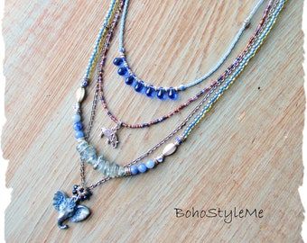 Boho Blue Elephant Pendant Necklace, BohoStyleMe, Modern Hippie Handmade Beaded Necklace, Boho Hippie Multi-Strand Necklace