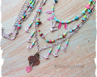 Bohemian Jewelry, BohostyleMe, Colorful Modern Hippie Handmade Beaded Necklace, Boho Style Jewelry, Hand Knotted Necklace