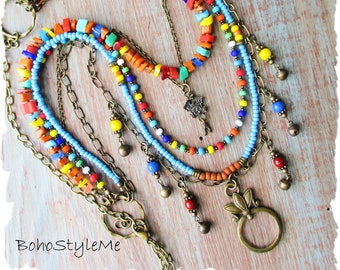 Bohemian Necklace, BohoStyleMe, Looking Glass Pendant, Colorful Boho Modern Hippie Beaded Necklace, Mixed Colors