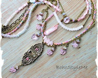 Boho Pink Crystal Butterfly Necklace, BohoStyleMe, Lock and Key Beaded Necklace, Victorian Style Romantic Shabby Necklace