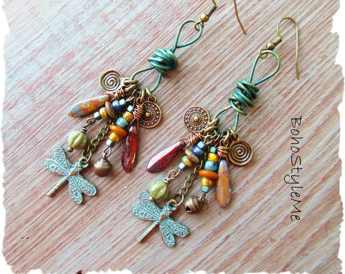 Featured listing image: Bohemian Jewelry, Boho Dragonfly Assemblage Earrings, BohoStyleMe, Handmade Nature Inspired Dangle Earrings