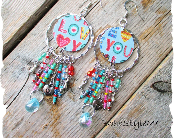 Featured listing image: Boho Fun Colorful Valentine's Day Dangle Earrings, BohoStyleMe, Bohemian Jewelry, Love You Earrings, Gift For Her