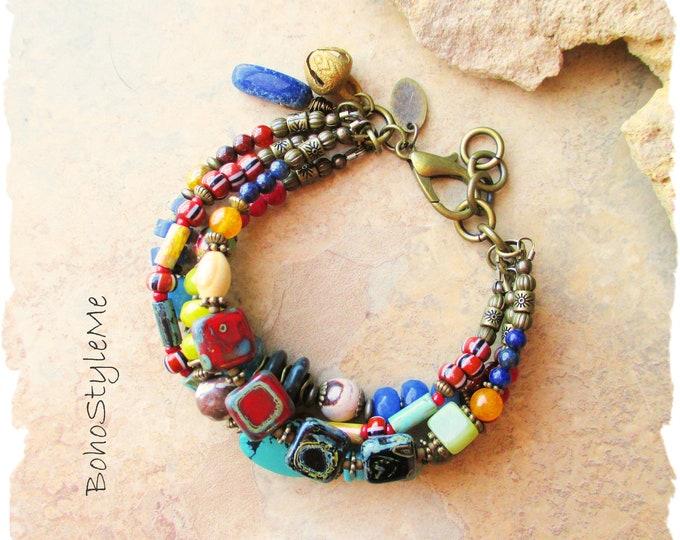 Featured listing image: Boho Style Mixed Gemstone Bracelet, Colorful Beaded Modern Hippie Bracelet, BohoStyleMe, Bohemian Jewelry