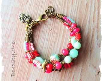 Boho Bright Bold Bohemian Bracelet, BohoStyleMe, Handmade Fun Colorful Beaded Bracelet, Bohemian Hippie Chic Jewelry