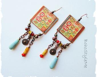 Boho Colorful Unique Modern Hippie Earrings, BohoStyleMe Jewelry, Handmade Quilt Style Artisan Earrings, Dangle Earrings