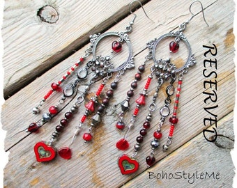 RESERVED - Boho Chandelier Assemblage Earrings, BohoStyleMe, Bohemian Jewelry, Red Hearts and Gunmetal Gray