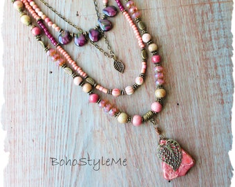 Bohemian Necklace, Boho Style Beaded Gemstone Necklace, BohoStyleMe, Handmade Modern Hippie Jewelry, Free Style Jewelry