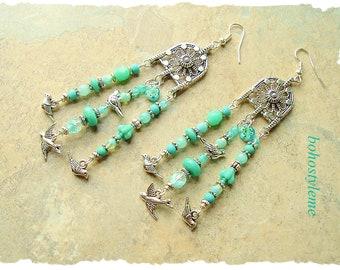 Closeout - Clearance - Final Sale - Bohemian Jewelry, bohostyleme, Bird Lover, Silver Bird Charms, Beaded Earrings