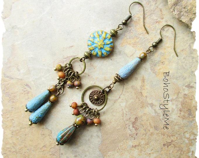 Featured listing image: Boho Turquoise Blue Asymmetrical Beaded Earrings, Bohemian Rustic Beach Wedding Earrings, BohoStyleMe, Modern Hippie