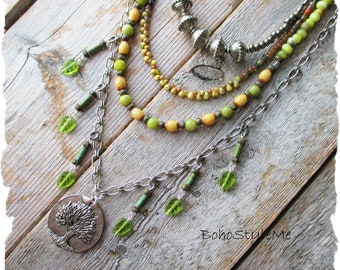 Bohemian Necklace, BohoStyleMe, Pistachio Green Fashion Jewelry, Nature Inspired Tree Pendant Necklace