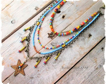 Boho Colorful Layered Necklace, BohoStyleMe, Primitive Rustic Rusty Barn Stars, Bohemian Star Necklace, Beaded Necklace