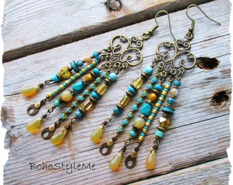 Turquoise Earrings, Long Handmade Chandelier Earrings, Turquoise and Gold, Bohemian Jewelry, BohoStyleMe, Boho Fashion