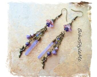 Boho Style Long Beaded Dangle Earrings, Fairy Earrings, Amethyst Purple, Fairy Fairies, Bohemian Jewelry, Boho Style Me