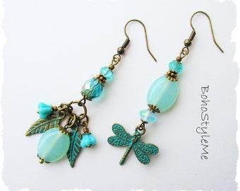 Patina Dragonfly Asymmetrical Earrings Aqua Mismatch Earrings Outdoor Wedding Aqua Crystal Boho Style Earrings, BohoStyleMe