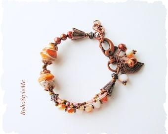 Boho Beachy Orange Sherbet Beaded Bracelet, BohoStyleMe Jewelry, Bohemian Jewelry, Layered Copper Bracelet