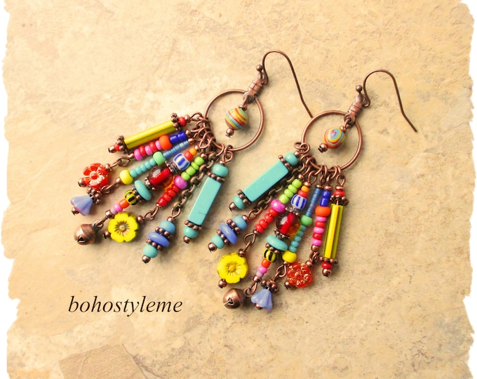 Featured listing image: Bohemian Jewelry, bohostyleme, Boho Colorful Dangle Earrings, Fun Beaded Earrings, Modern Hippie, Kaye Kraus