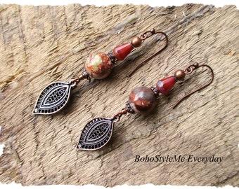 Bohemian Earrings, Dangle Earrings, Jasper Earrings, Boho Charm Earrings, Boho Earrings, Copper Dangle Earrings, Gift for Women
