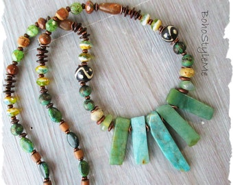 Bohemian Necklace, Chunky Rustic Green Stone Necklace, BohoStyleMe, Modern Hippie Jewelry, Handmade Tribal Nature Necklace