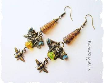 Boho Style Me Earrings, Honey Bee Lover Nature Earrings, Bohemian Jewelry, BohoStyleMe, Modern Hippie Dangle Earrings