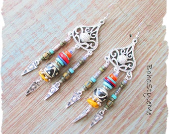 African Tribal Beaded Earrings, BohoStyleMe, Long Colorful Handmade Gemstone Boho Ethnic Bohemian Earrings