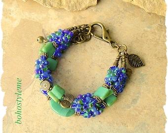 Closeout - Clearance - Final Sale - Bohemian Jewelry, bohostyleme, Modern Hippie, Blue and Green Bracelet