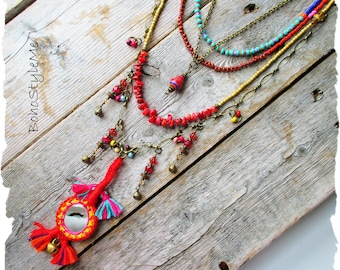Bohemian Necklace, BohoStyleMe, Boho Colorful, Festive Jewelry, Beaded, Modern Hippie, Gypsy Spirit Layer Necklace