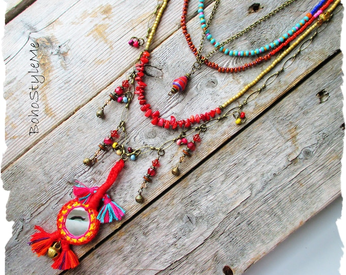 Featured listing image: Bohemian Necklace, BohoStyleMe, Boho Colorful, Festive Jewelry, Beaded, Modern Hippie, Gypsy Spirit Layer Necklace